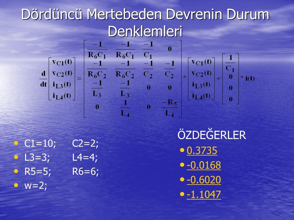 Dördüncü Mertebeden Devrenin Durum Denklemleri ÖZDEĞERLER 0.3735 -0.0168 -0.6020 -1.1047 C1=10;C2=2; L3=3;L4=4; R5=5;R6=6; w=2;