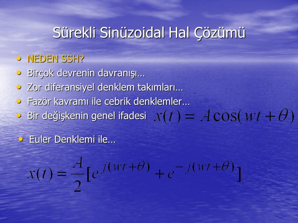 Sürekli Sinüzoidal Hal Çözümü NEDEN SSH? NEDEN SSH? Birçok devrenin davranışı… Birçok devrenin davranışı… Zor diferansiyel denklem takımları… Zor dife