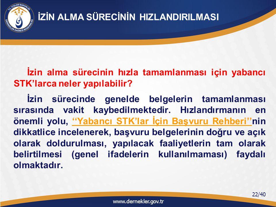 İKİNCİ BÖLÜM Türkiye'de Faaliyetine İzin Verilen Yabancı STK'ların İzin Sonrası Faaliyetleri ve Yasal Yükümlülükleri www.dernekler.gov.tr 23/40