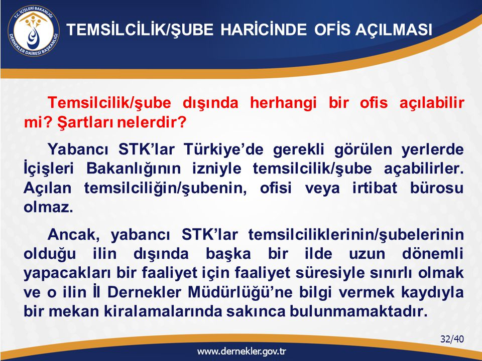 Türkiye'de izin verilen faaliyet türlerinden sadece şube açmasına izin verilen yabancı STK'lar üye kaydederek zorunlu organlarını oluşturmak zorundadırlar.