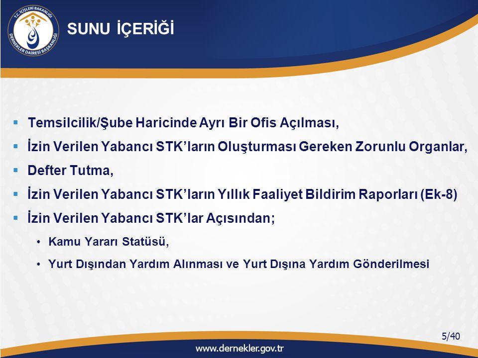 BİRİNCİ BÖLÜM Türkiye'de Faaliyet Göstermek İsteyen Yabancı STK'ların Başvuru Süreci www.dernekler.gov.tr 6/40