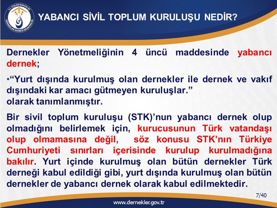 Merkezleri yurt dışında bulunan yabancı dernekler, yabancı vakıflar ve yabancı kâr amacı gütmeyen kuruluşların (Yabancı STK'ların) Türkiye'de faaliyette bulunması; 4721 sayılı Türk Medeni Kanununun 92 nci ve 117 nci maddelerinde, 5253 sayılı Dernekler Kanununun 5 inci ve 36 ncı maddelerinde, düzenlenmiştir.
