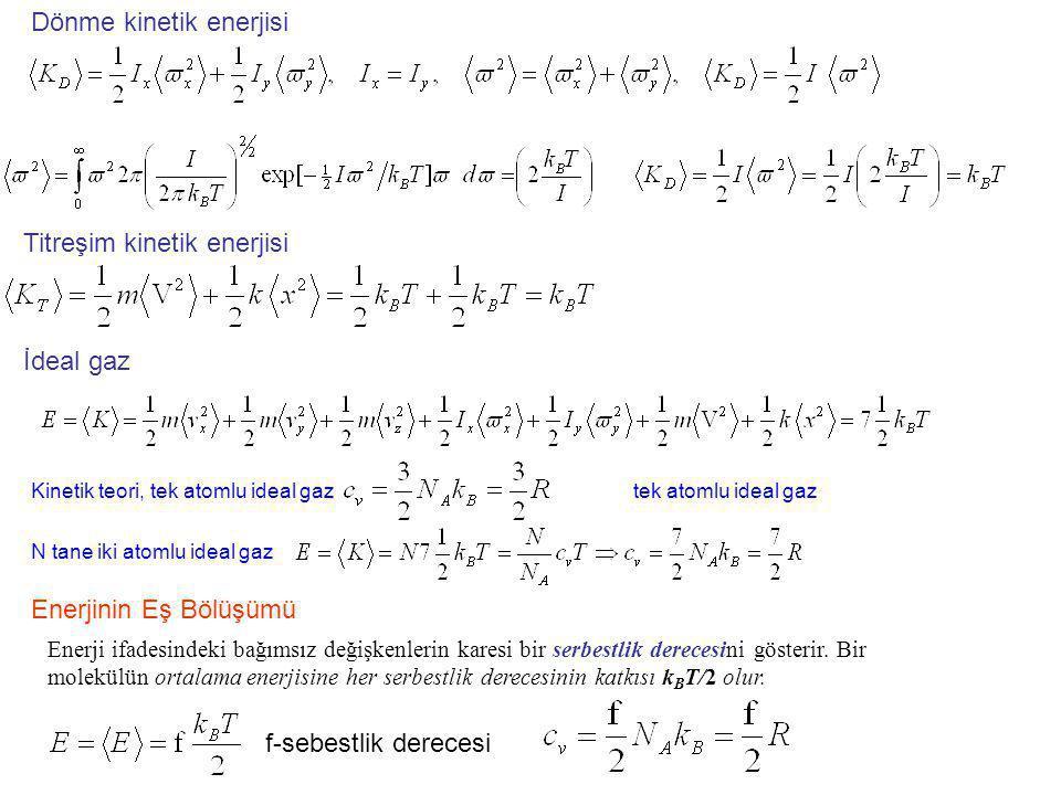 İdeal gaz Dönme kinetik enerjisi Titreşim kinetik enerjisi Enerjinin Eş Bölüşümü Enerji ifadesindeki bağımsız değişkenlerin karesi bir serbestlik dere