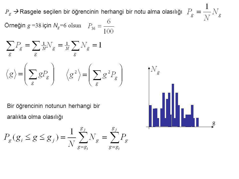 P g  Rasgele seçilen bir öğrencinin herhangi bir notu alma olasılığı Örneğin g =38 için N g =6 olsun Bir öğrencinin notunun herhangi bir aralıkta olm