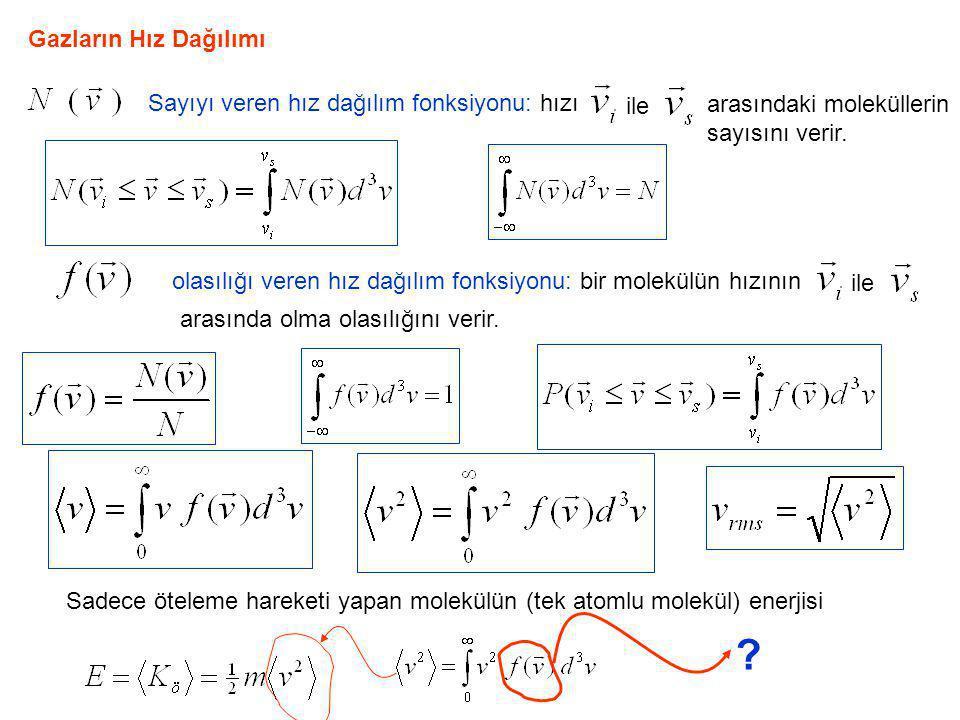 Gazların Hız Dağılımı Sayıyı veren hız dağılım fonksiyonu: hızı arasındaki moleküllerin sayısını verir. ile olasılığı veren hız dağılım fonksiyonu: bi