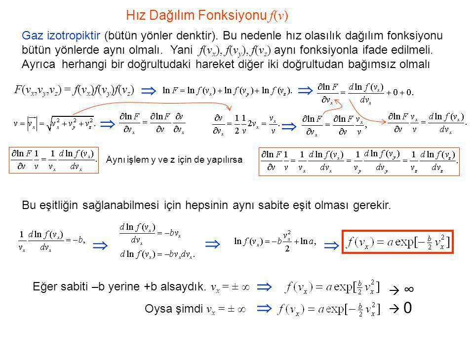 Hız Dağılım Fonksiyonu f(v) Gaz izotropiktir (bütün yönler denktir). Bu nedenle hız olasılık dağılım fonksiyonu bütün yönlerde aynı olmalı. Yani f(v x