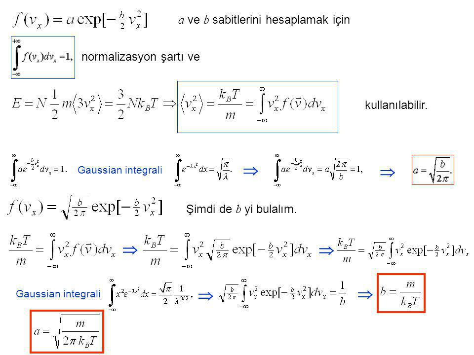  a ve b sabitlerini hesaplamak için normalizasyon şartı ve kullanılabilir. Gaussian integrali   Şimdi de b yi bulalım.   Gaussian integrali 
