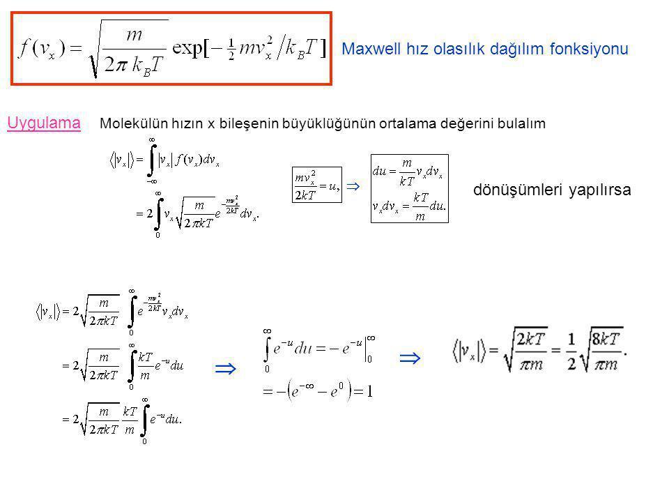 Maxwell hız olasılık dağılım fonksiyonu Uygulama dönüşümleri yapılırsa    Molekülün hızın x bileşenin büyüklüğünün ortalama değerini bulalım