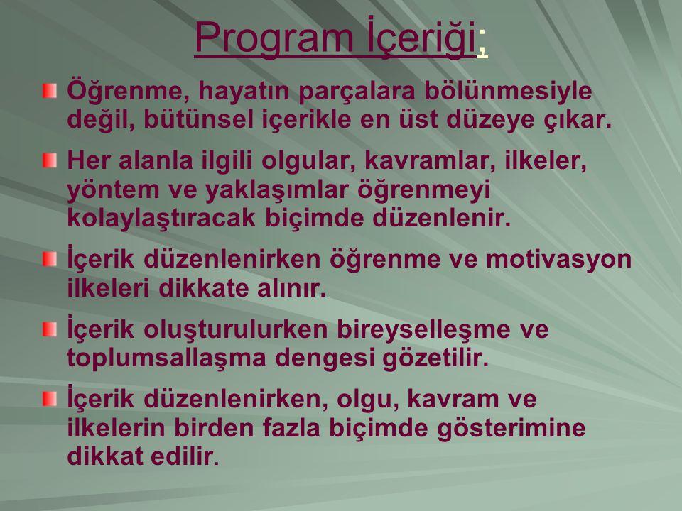 Program İçeriği; Öğrenme, hayatın parçalara bölünmesiyle değil, bütünsel içerikle en üst düzeye çıkar.