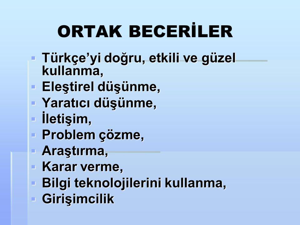 ORTAK BECERİLER  Türkçe'yi doğru, etkili ve güzel kullanma,  Eleştirel düşünme,  Yaratıcı düşünme,  İletişim,  Problem çözme,  Araştırma,  Karar verme,  Bilgi teknolojilerini kullanma,  Girişimcilik