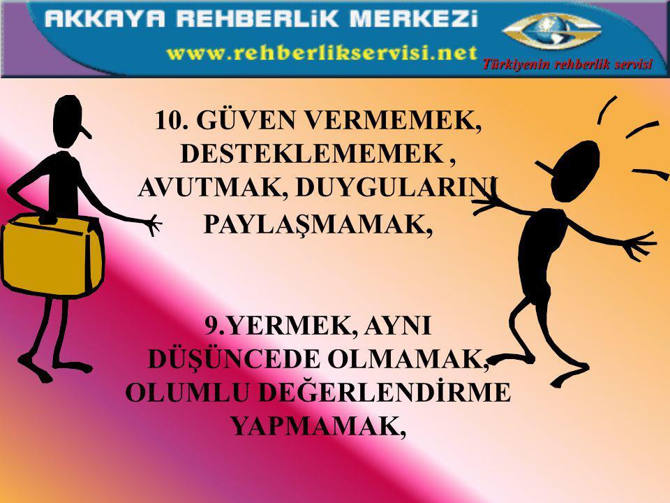 6.YARGILAMAK, ELEŞTİRMEK, SUÇLAMAK, AYNI DÜŞÜNCEDE OLMAMAK, 7.AD TAKMAK, ALAY ETMEK, 8.YORUMLAMAK, ANALİZ ETMEK, TANI KOYMAK, ha ha ha çok komik Türkiyenin rehberlik servisi
