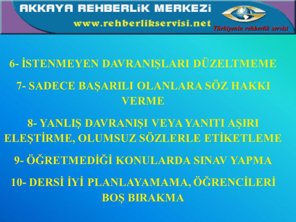 1- NOTLA TEHDİT ETME 2- CEZA OLARAK ÖDEV VERME 3- SADECE ANLATIM YÖNTEMİNİ KULLANMA DERSE GÜDÜLEMEME, CESARETLENDİRMEME, ESPİRİTÜEL OLMAMA 4- ÖDEVLERİ KONTROL ETMEME 5- SINIFA SIRTINI DÖNME İSTENMEYEN ÖĞRETMEN DAVRANIŞLARI Türkiyenin rehberlik servisi