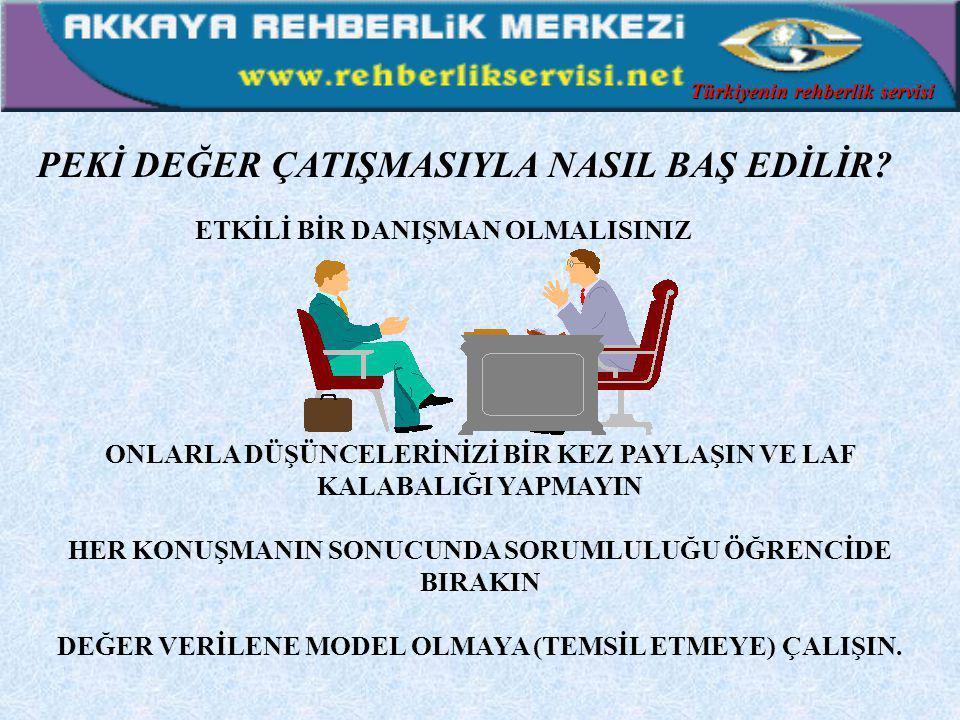 RENKLER, ZEVKLER ÖZELLİKLEDE ÖZELLİKLEDE DEĞERLER DEĞERLER TARTIŞILMAZ TARTIŞILMAZ Türkiyenin rehberlik servisi