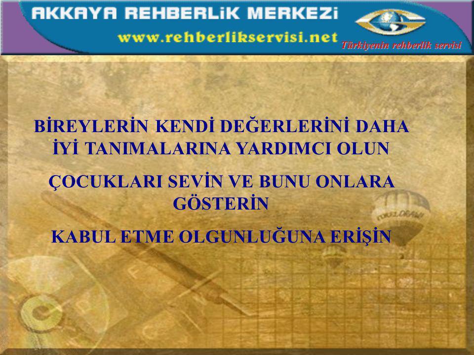 KENDİNİZDEKİ KUSURLARI GÖRÜN VE DEĞİŞİME BAŞLAYIN ÇOCUKLARI İYİ TANIYIN AMA HER KONUDA GURUP ÇALIŞMALARI YAPTIRIN GEREKİRSE GURUP VE BİREYSEL TERAPİLERE BAŞVURUN Türkiyenin rehberlik servisi