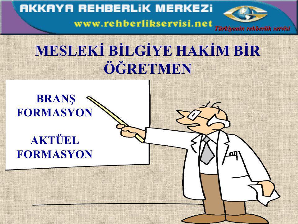 EVRENSEL AHLAKİ DEĞERLERE SAHİP BİR ÖĞRETMEN İyi bir dinleyici Hoşgörülü Dürüst, açık ve güvenilir Özür dileyebilen Yüreklendirici ve yardımcı İşini büyük bir heyecanla yapan Kendisine güvenen, kendisiyle barışık olan Sempatik ve esprili Sevgi dolu bir insan Türkiyenin rehberlik servisi
