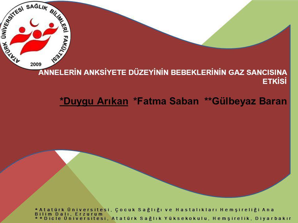 *Atatürk Üniversitesi, Çocuk Sağlığı ve Hastalıkları Hemşireliği Ana Bilim Dalı, Erzurum **Dicle Üniversitesi, Atatürk Sağlık Yüksekokulu, Hemşirelik,
