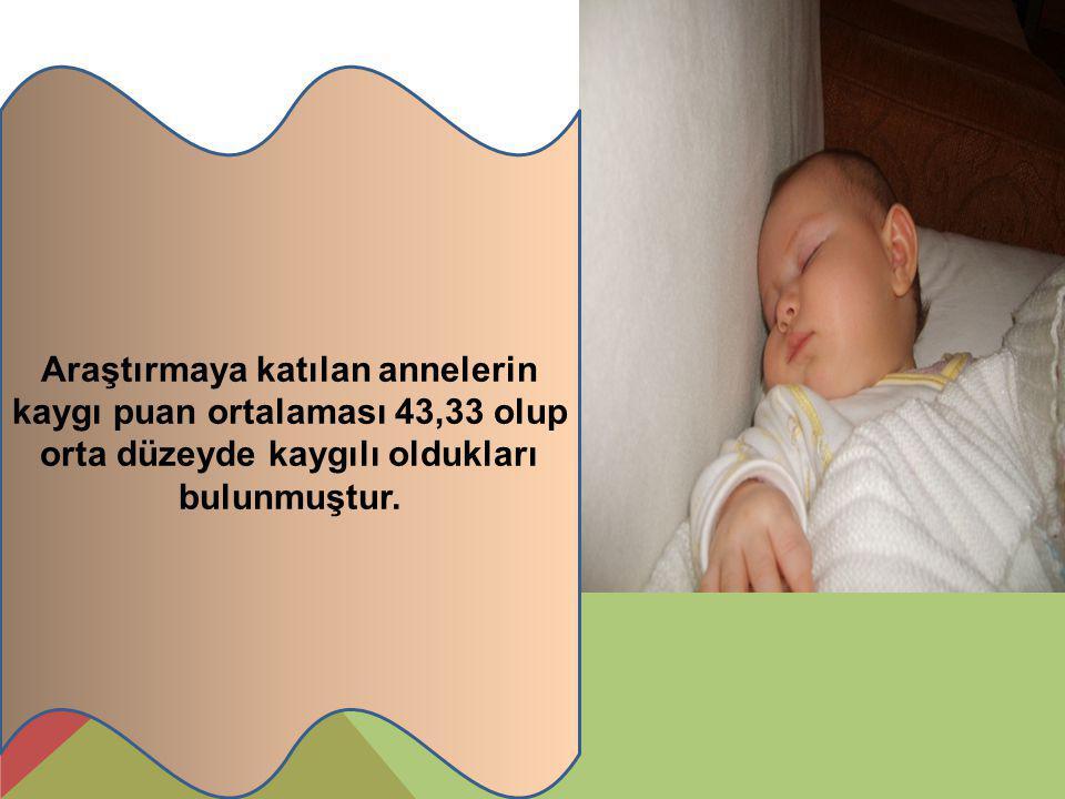 Araştırmaya katılan annelerin kaygı puan ortalaması 43,33 olup orta düzeyde kaygılı oldukları bulunmuştur.