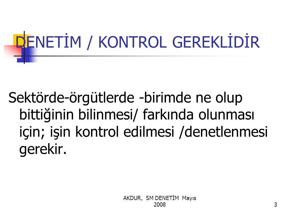 AKDUR, SM DENETİM Mayıs 20083 DENETİM / KONTROL GEREKLİDİR Sektörde-örgütlerde -birimde ne olup bittiğinin bilinmesi/ farkında olunması için; işin kontrol edilmesi /denetlenmesi gerekir.