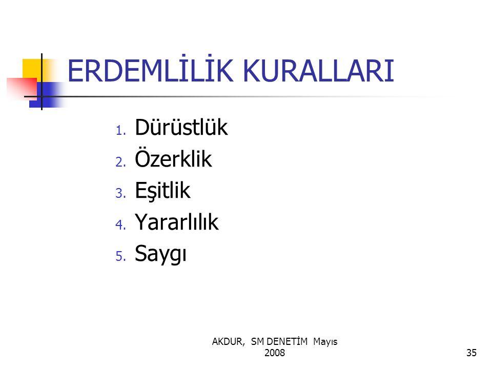 AKDUR, SM DENETİM Mayıs 200835 ERDEMLİLİK KURALLARI 1. Dürüstlük 2. Özerklik 3. Eşitlik 4. Yararlılık 5. Saygı