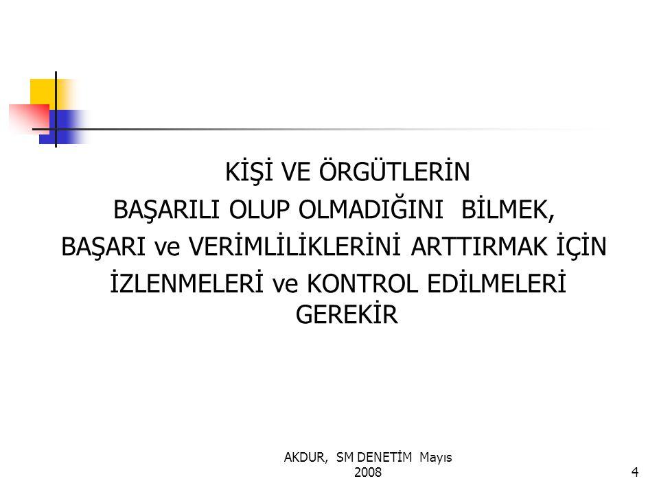 AKDUR, SM DENETİM Mayıs 200815 ÖLÇÜTLER /SATANDARTLAR 1 MUTLAK SAYILAR GÖRECELİ SAYILAR 1.