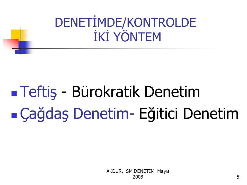 AKDUR, SM DENETİM Mayıs 20085 DENETİMDE/KONTROLDE İKİ YÖNTEM Teftiş - Bürokratik Denetim Çağdaş Denetim- Eğitici Denetim