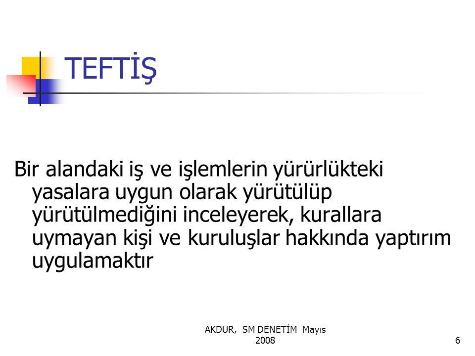 AKDUR, SM DENETİM Mayıs 200837 DENETİME ÖZGÜ KURALLAR 1.