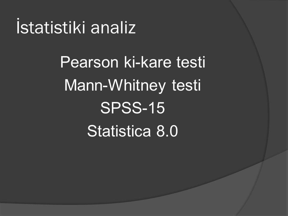İstatistiki analiz Pearson ki-kare testi Mann-Whitney testi SPSS-15 Statistica 8.0
