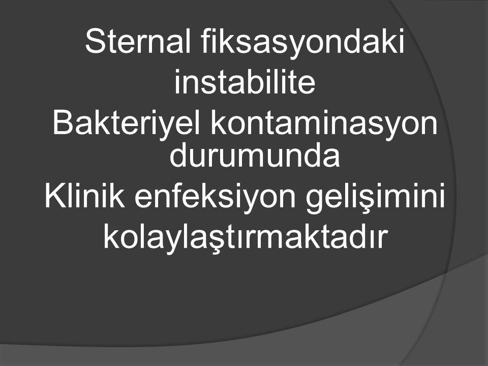 Sternal fiksasyondaki instabilite Bakteriyel kontaminasyon durumunda Klinik enfeksiyon gelişimini kolaylaştırmaktadır