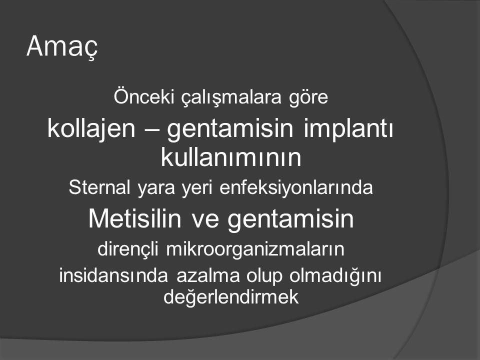 Amaç Önceki çalışmalara göre kollajen – gentamisin implantı kullanımının Sternal yara yeri enfeksiyonlarında Metisilin ve gentamisin dirençli mikroorg