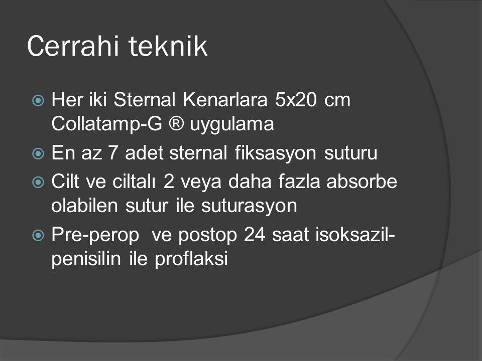 Cerrahi teknik  Her iki Sternal Kenarlara 5x20 cm Collatamp-G ® uygulama  En az 7 adet sternal fiksasyon suturu  Cilt ve ciltalı 2 veya daha fazla