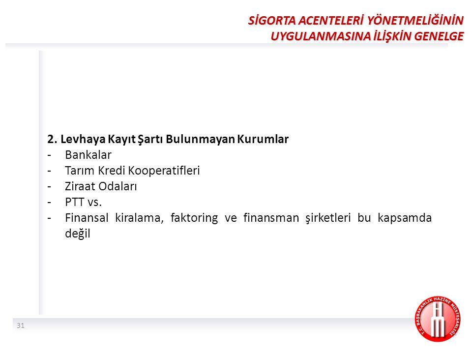 2. Levhaya Kayıt Şartı Bulunmayan Kurumlar -Bankalar -Tarım Kredi Kooperatifleri -Ziraat Odaları -PTT vs. -Finansal kiralama, faktoring ve finansman ş