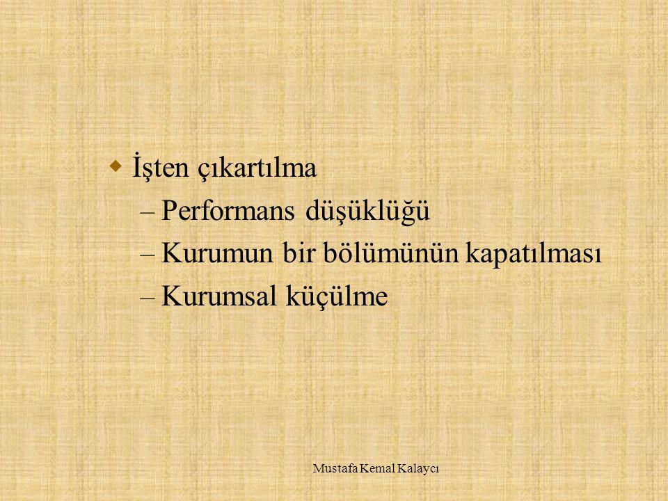  İşten çıkartılma – Performans düşüklüğü – Kurumun bir bölümünün kapatılması – Kurumsal küçülme Mustafa Kemal Kalaycı