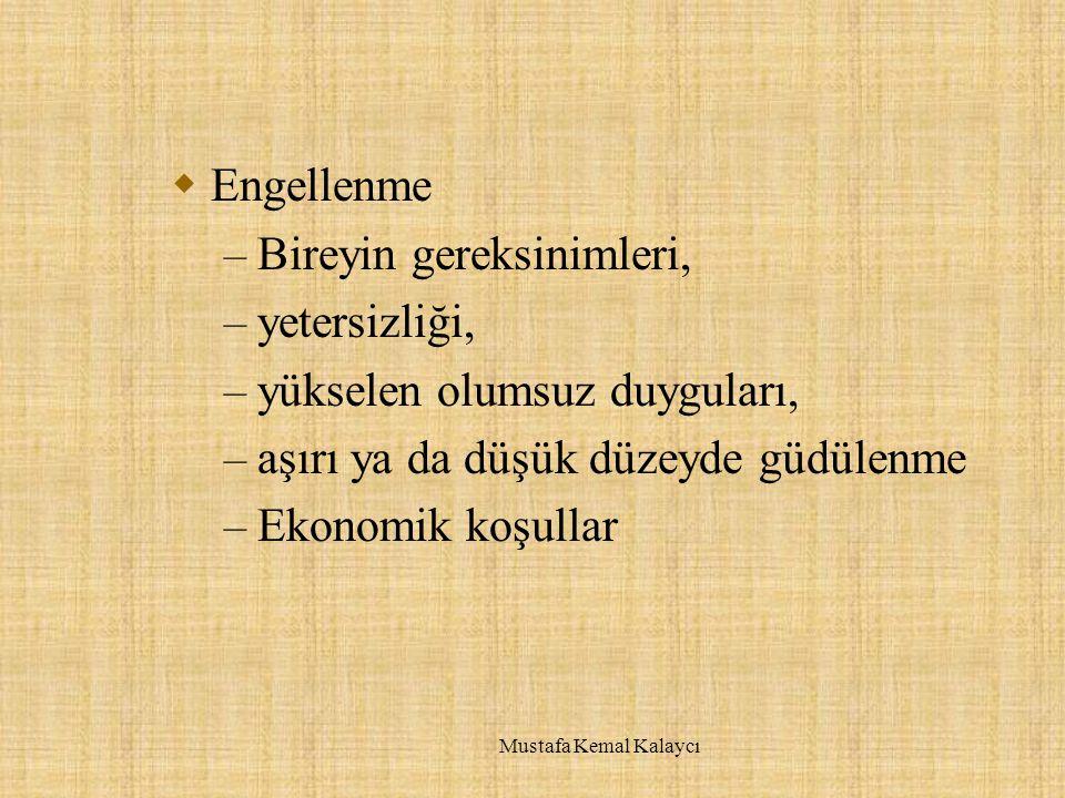  Engellenme – Bireyin gereksinimleri, – yetersizliği, – yükselen olumsuz duyguları, – aşırı ya da düşük düzeyde güdülenme – Ekonomik koşullar Mustafa Kemal Kalaycı