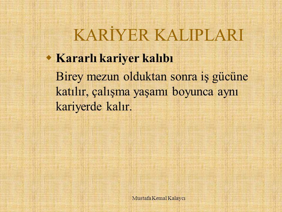KARİYER KALIPLARI  Kararlı kariyer kalıbı Birey mezun olduktan sonra iş gücüne katılır, çalışma yaşamı boyunca aynı kariyerde kalır. Mustafa Kemal Ka