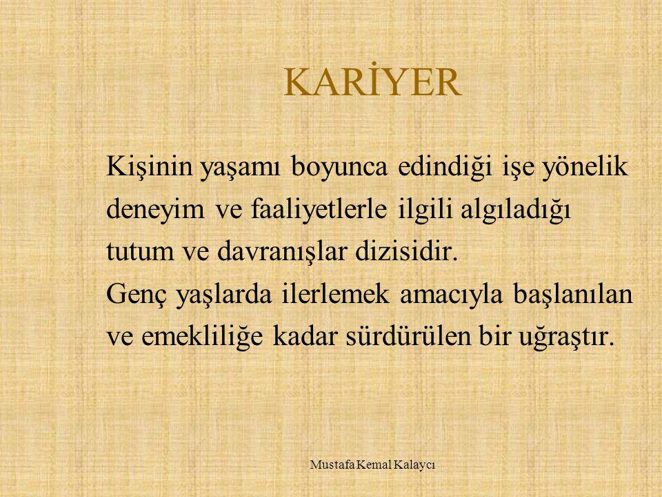 MESLEKLERE İLİŞKİN BİLGİLER  Çalışma koşulları  Çalışma olanakları  Yetkinlikler  Kariyer olanakları  Mesleğin geleceği Mustafa Kemal Kalaycı