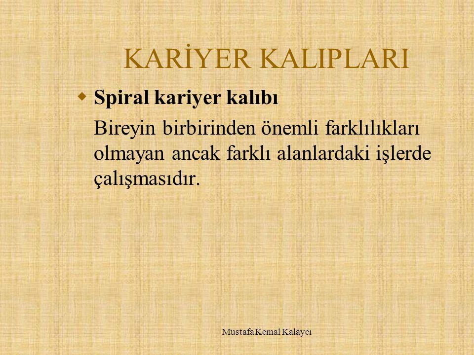 KARİYER KALIPLARI  Spiral kariyer kalıbı Bireyin birbirinden önemli farklılıkları olmayan ancak farklı alanlardaki işlerde çalışmasıdır. Mustafa Kema