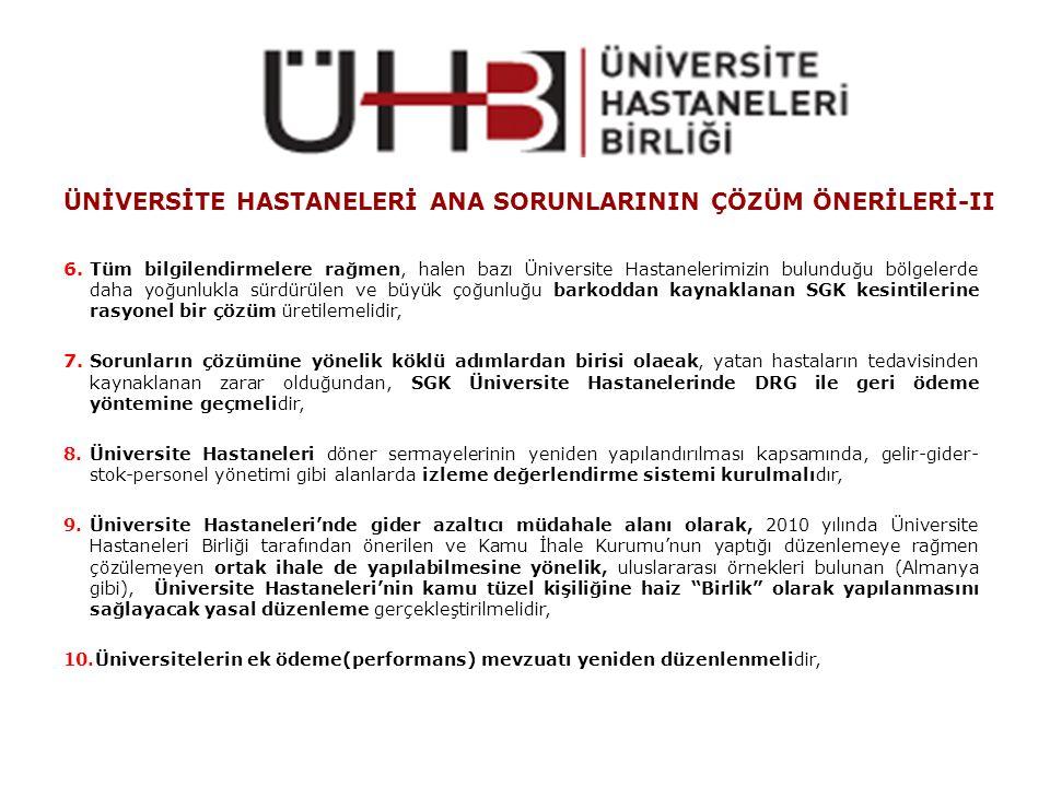 ÜNİVERSİTE HASTANELERİ ANA SORUNLARININ ÇÖZÜM ÖNERİLERİ-II 6.