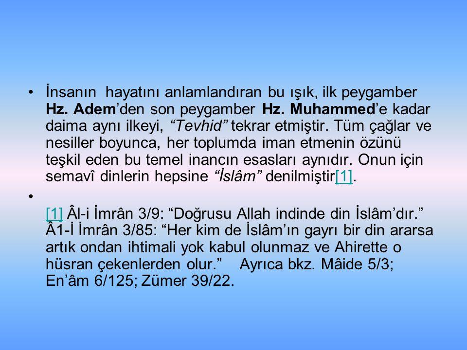 """İnsanın hayatını anlamlandıran bu ışık, ilk peygamber Hz. Adem'den son peygamber Hz. Muhammed'e kadar daima aynı ilkeyi, """"Tevhid"""" tekrar etmiştir. Tüm"""