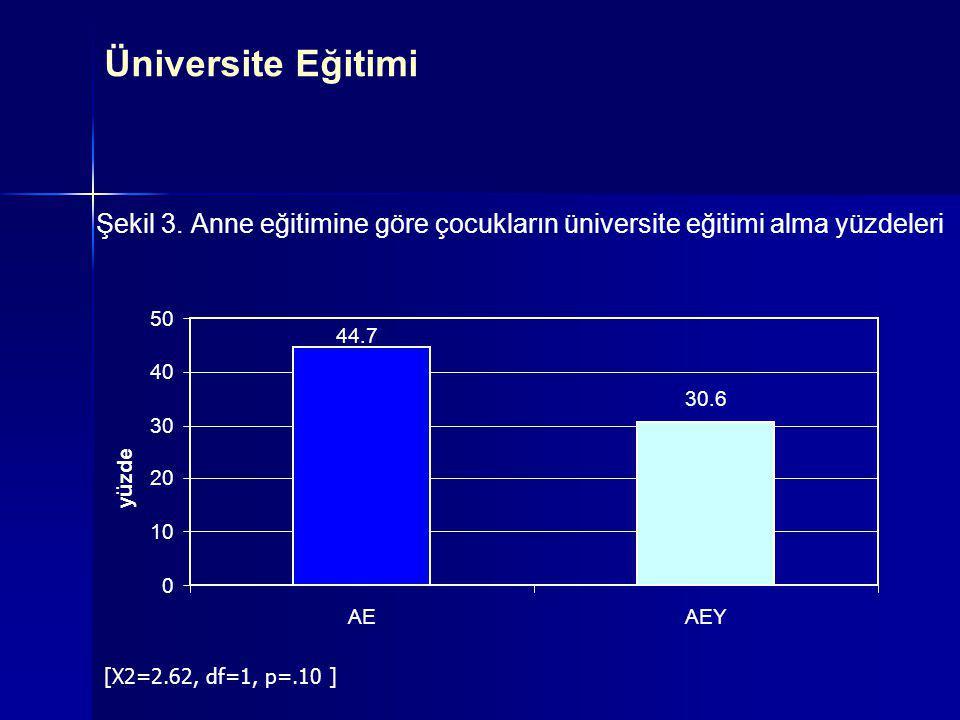Şekil 3. Anne eğitimine göre çocukların üniversite eğitimi alma yüzdeleri 44.7 30.6 0 10 20 30 40 50 AEAEY yüzde [X2=2.62, df=1, p=.10 ] Üniversite Eğ