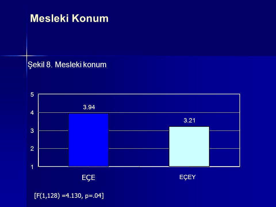 Şekil 8. Mesleki konum 3.94 3.21 1 2 3 4 5 EÇE EÇEY [F(1,128) =4.130, p=.04] Mesleki Konum