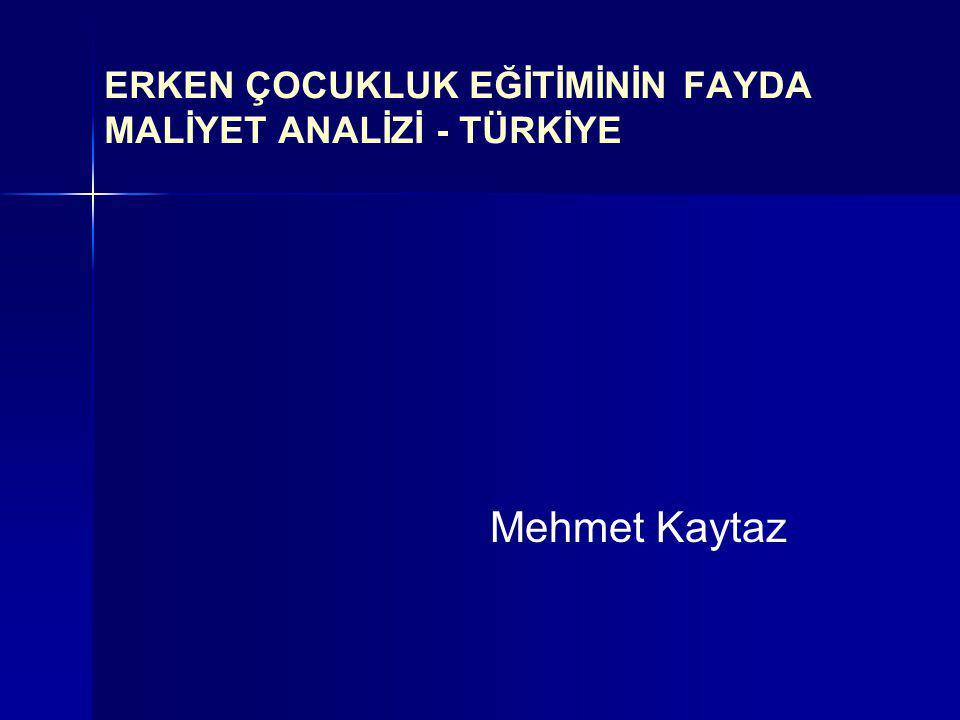 ERKEN ÇOCUKLUK EĞİTİMİNİN FAYDA MALİYET ANALİZİ - TÜRKİYE Mehmet Kaytaz