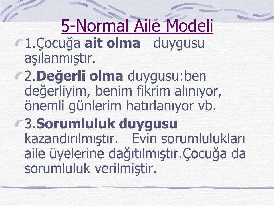 4-Karmaşık Aile Modeli Aile her türlü modeli uygulamakta (Bazen koruyucu,bazen titiz,bazen ilgisiz ) çocuk ailenin nasıl davranacağını kestirememekted