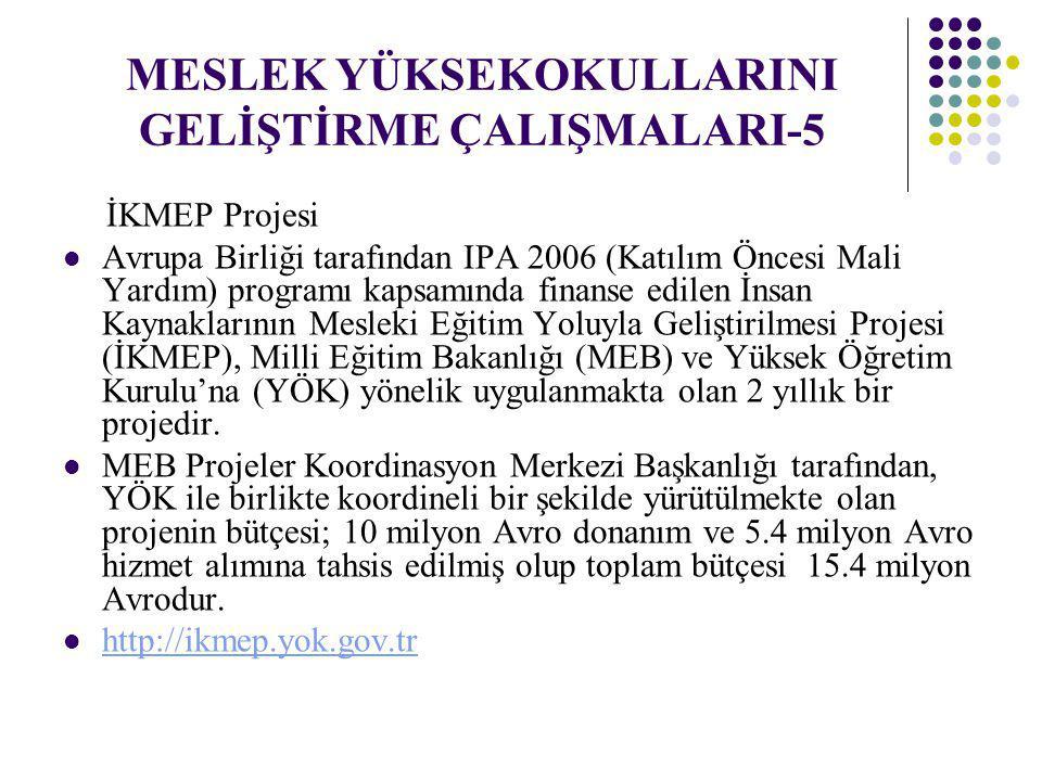 MESLEK YÜKSEKOKULLARINI GELİŞTİRME ÇALIŞMALARI-5 İKMEP Projesi Avrupa Birliği tarafından IPA 2006 (Katılım Öncesi Mali Yardım) programı kapsamında fin