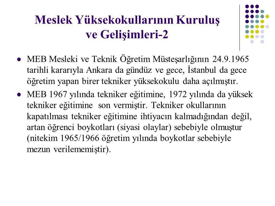 Meslek Yüksekokullarının Kuruluş ve Gelişimleri-2 MEB Mesleki ve Teknik Öğretim Müsteşarlığının 24.9.1965 tarihli kararıyla Ankara da gündüz ve gece,