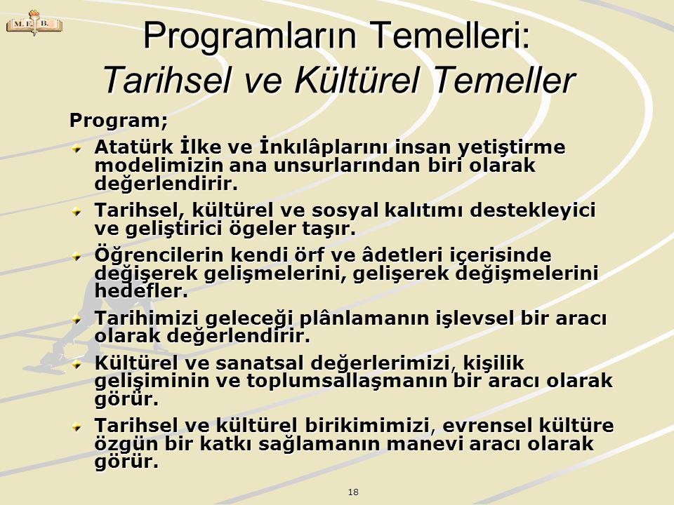 18 Programların Temelleri: Tarihsel ve Kültürel Temeller Program; Atatürk İlke ve İnkılâplarını insan yetiştirme modelimizin ana unsurlarından biri ol