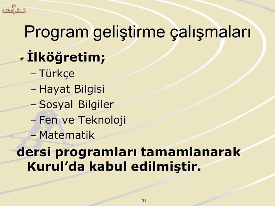31 Program geliştirme çalışmaları İlköğretim; –Türkçe –Hayat Bilgisi –Sosyal Bilgiler –Fen ve Teknoloji –Matematik dersi programları tamamlanarak Kuru