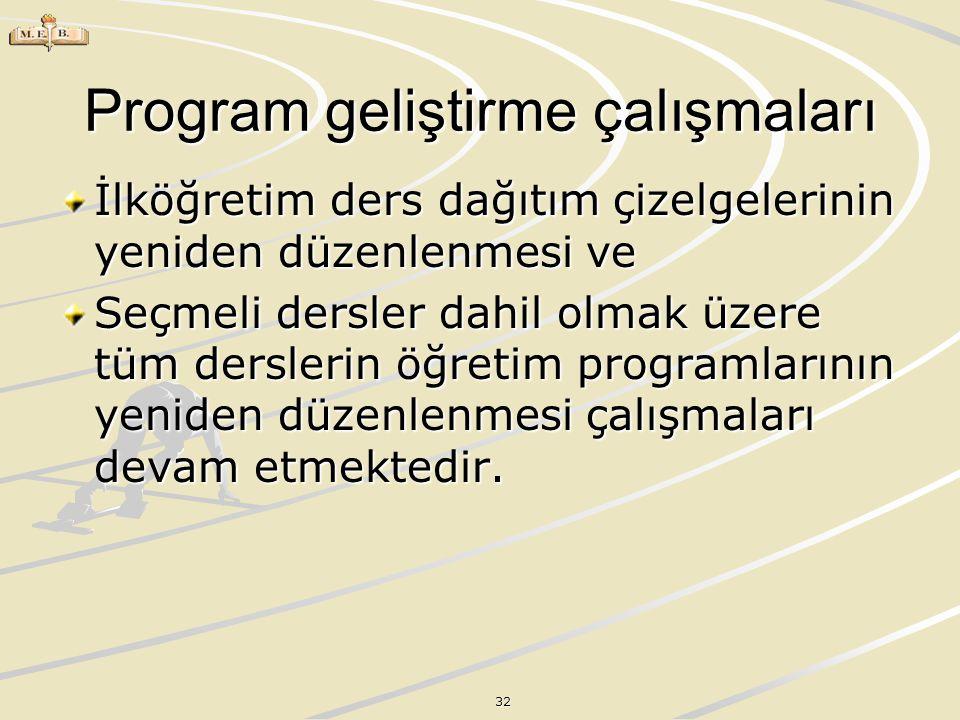 32 Program geliştirme çalışmaları İlköğretim ders dağıtım çizelgelerinin yeniden düzenlenmesi ve Seçmeli dersler dahil olmak üzere tüm derslerin öğret