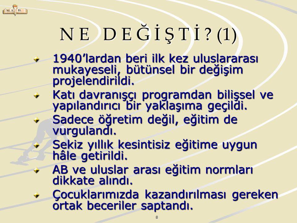 8 N E D E Ğ İ Ş T İ ? (1) 1940'lardan beri ilk kez uluslararası mukayeseli, bütünsel bir değişim projelendirildi. Katı davranışçı programdan bilişsel