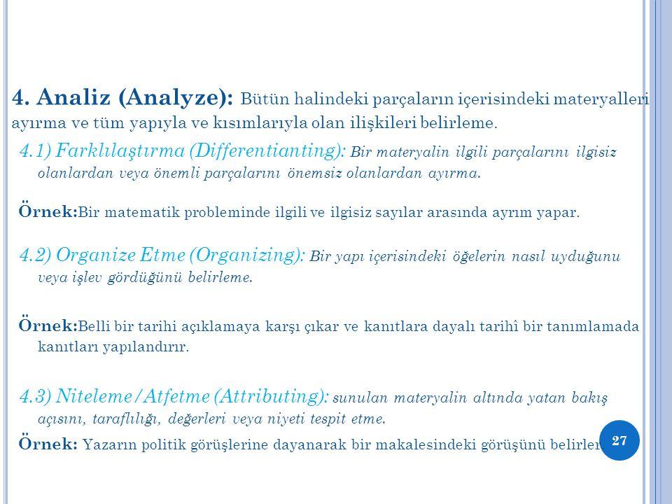 4. Analiz (Analyze): Bütün halindeki parçaların içerisindeki materyalleri ayırma ve tüm yapıyla ve kısımlarıyla olan ilişkileri belirleme. 4.1) Farklı