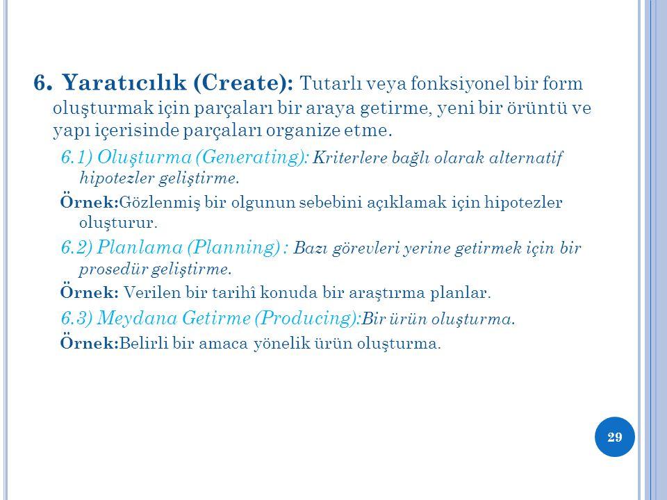6. Yaratıcılık (Create): Tutarlı veya fonksiyonel bir form oluşturmak için parçaları bir araya getirme, yeni bir örüntü ve yapı içerisinde parçaları o